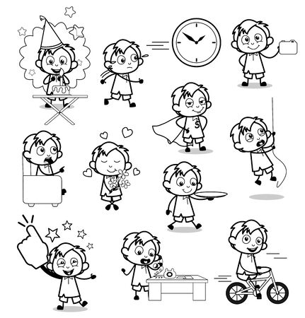 Collection of Retro Comic Office Guy - Set of Concepts Vector illustrations