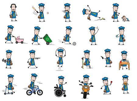 Funny Cartoon Postman - Set of Concepts Vector illustrations Ilustração