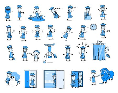 Vintage Comic Mailman - Set of Concepts Vector illustrations Illustration