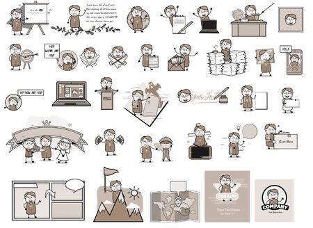 Various Comic Vintage Priest Monk - Different Concepts Vector illustrations