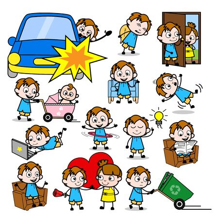 Young Cartoon Office Guy - Set of Concepts Vector illustrations Ilustrace