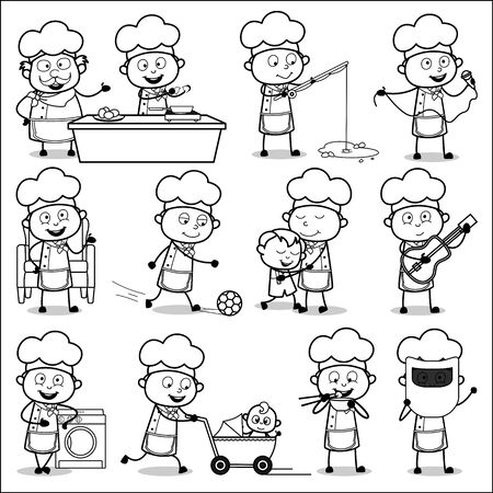 Black and White Comic Chef - Set of Concepts Vector illustrations