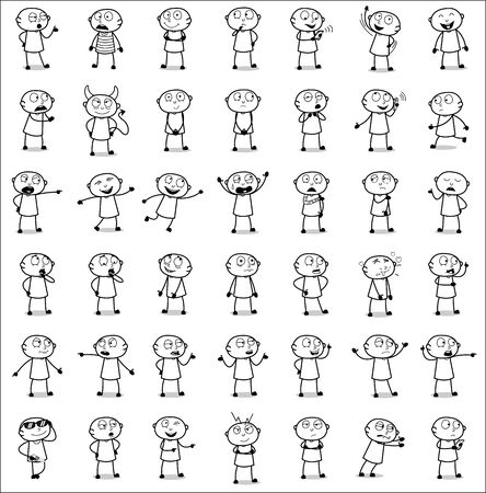 Comic Thief - Set of Drawing Concepts Vector illustrations Illustration