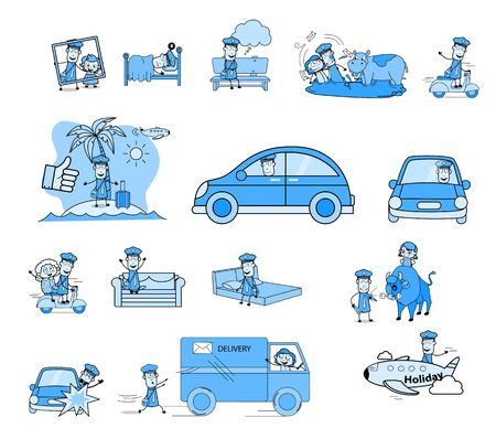Various Vintage Comic Postman - Set of Different Concepts Vector illustrations Ilustrace