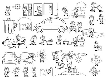 Retro Poses Collection of Carpenter Character - Set of Concepts Vector illustrations Illustration