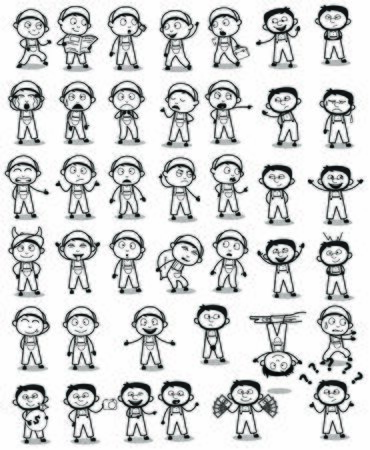 Various Retro Drawing of Repairman Poses - Set of Concepts Vector illustrations Illustration