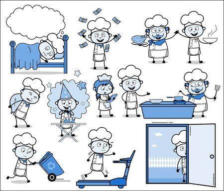 Different Cartoon Chef - Retro Concepts Vector illustrations 일러스트