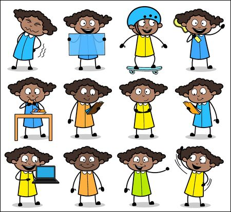 Comic Office Lady Various Poses - Set of Concepts Vector illustrations