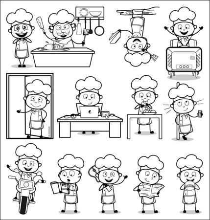 Various Black and White Cartoon Chef - Set of Concepts Vector illustrations 向量圖像