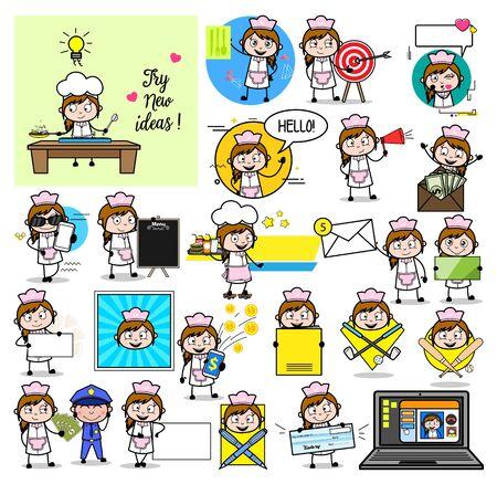 Different Concepts of Cartoon Waitress - Set of Concepts Vector illustrations