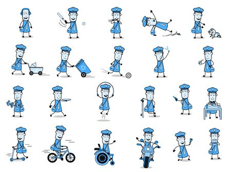 Different Concepts of Cartoon Postman - Set of Concepts Vector illustrations