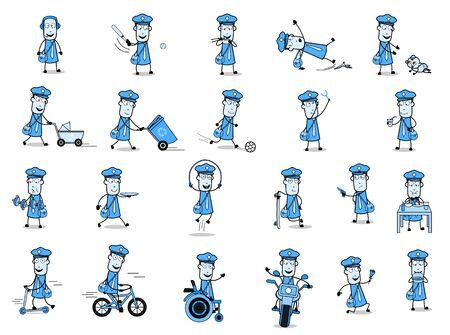 Different Concepts of Cartoon Postman - Set of Concepts Vector illustrations