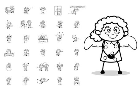 Different Concepts of Old Granny - Retro Vector illustrations
