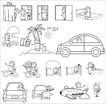 Cartoon Funny Priest Monk Character - Set of Concepts Vector illustrations