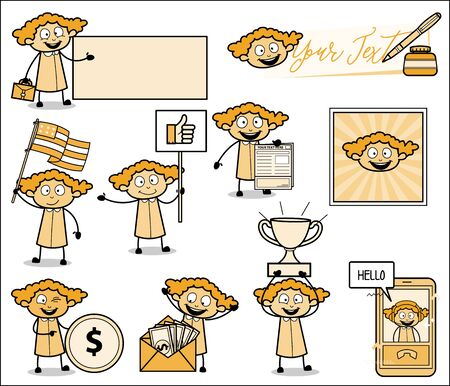 Vintage Comic Concepts of Office Lady - Set of Concepts Vector illustrations