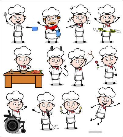 Cartoon Chef - Set of Concepts Vector illustrations Vectores