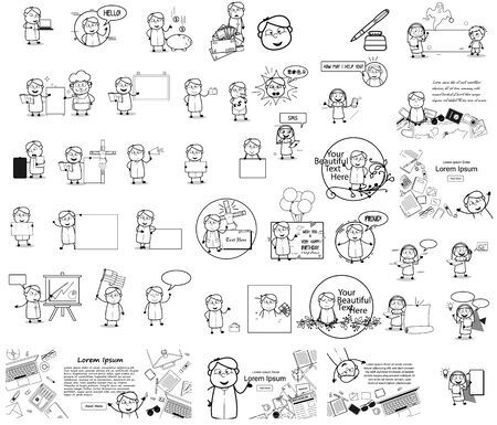 Different Types of Priest Monk Character - Set of Concepts Vector illustrations