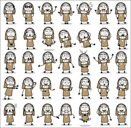 Collection of Various Nun Lady Poses - Set of Concepts Vector illustrations 向量圖像