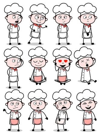 Cartoon Chef Different Poses - Set of Concepts Vector illustrations