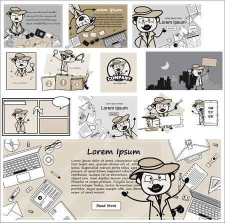 Cartoon Funny Detective Agent with Many Templates - Set of Concepts Vector illustrations