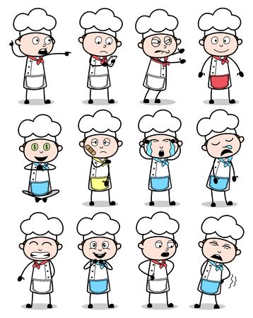 Various Cartoon Chef Poses - Set of Concepts Vector illustrations