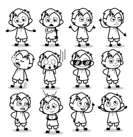 Poses of Retro Comic Office Guy - Set of Concepts Vector illustrations 向量圖像