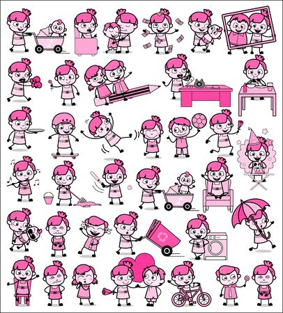 Vintage Comic Teen Girl Characters - Set of Concepts Vector illustrations
