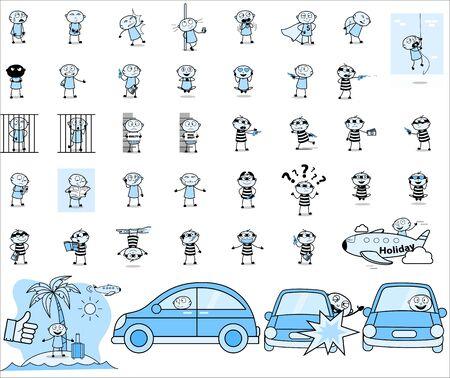 Thief - Set of Concepts Vector illustrations 일러스트