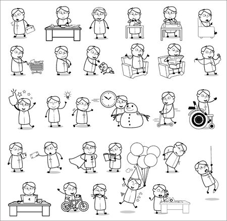Drawing of Cartoon Priest Monk - Set of Concepts Vector illustrations
