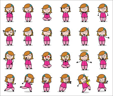 Various Poses Collection of Housewife - Set of Concepts Vector illustrations 일러스트