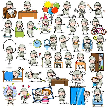 Comic Army Man - Set of Concepts Vector illustrations