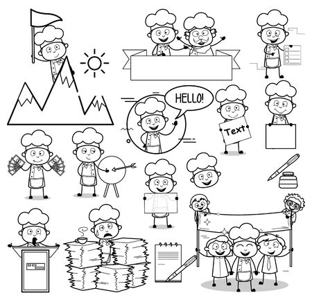 Drawing of Cartoon Chef - Set of Concepts Vector illustrations