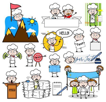 Cartoon chef-kok verschillende concepten - set van retro vectorillustraties