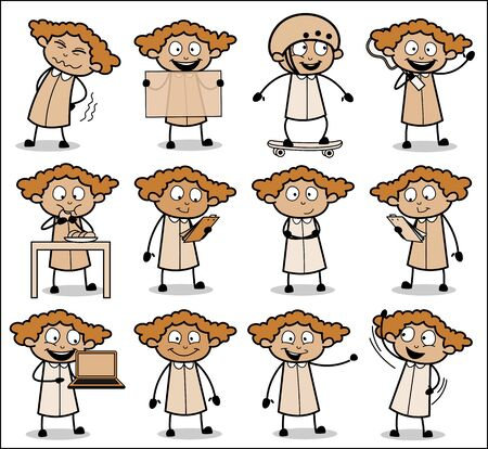 Poses of Cartoon Office Lady - Set of Concepts Vector illustrations