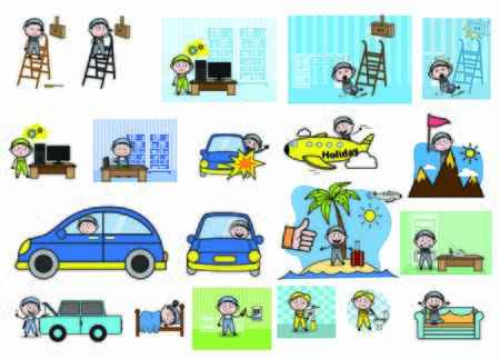 Various Cartoon Concepts with Repairman - Set of Concepts Vector illustrations