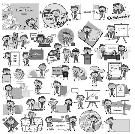 Retro Comic Doctor Characters - Set of Concepts Vector illustrations