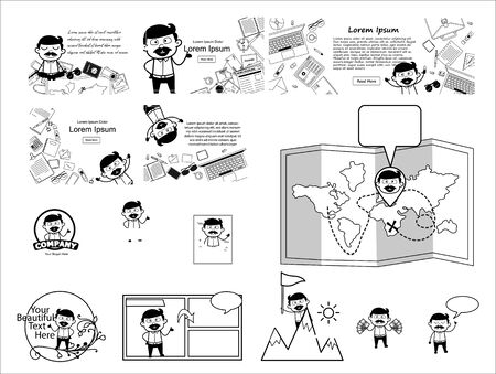 Collection of Retro Templates with Indian Man Characters - Set of Concepts Vector illustrations