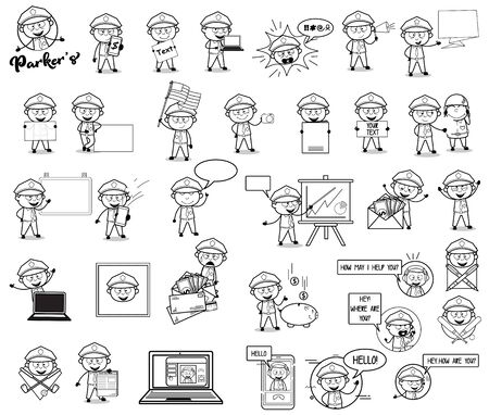 Retro Drawing of Policeman Cop Concepts - Set of Concepts Vector illustrations 向量圖像