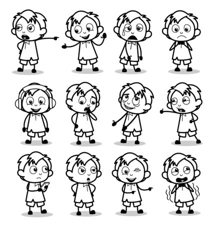 Retro Drawing of Office Guy Poses - Collection of Concepts Vector illustrations