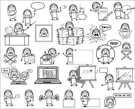 Concepts of Retro Cartoon Nun Lady - Set of Various Concepts Vector illustrations