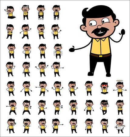 Various Comic Indian Man Poses - Set of Concepts Vector illustrations