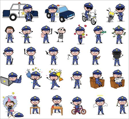 Cartoon Policeman Cop - Set of Concepts Vector illustrations