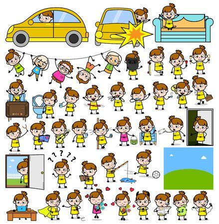 Cartoon Teen Girl Character - Set of Concepts Vector illustrations Illusztráció