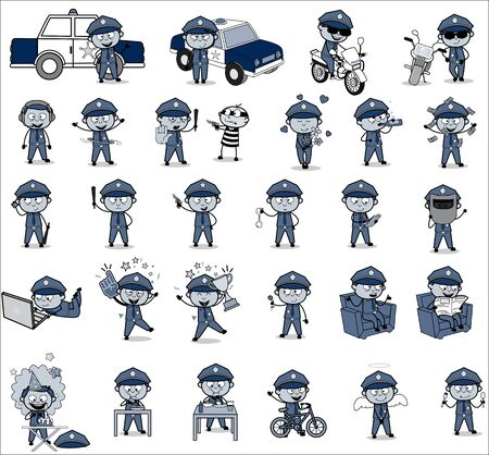 Comic Policeman Cop Character - Collection of Concepts Vector illustrations