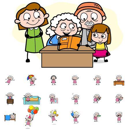 Cartoon Old Granny - Set of Concepts Vector illustrations Vectores