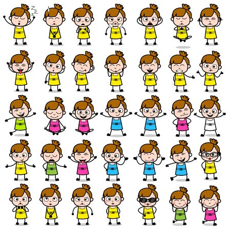 Cartoon Teen Girl Poses Collection - Set of Various Vector illustrations Illustration