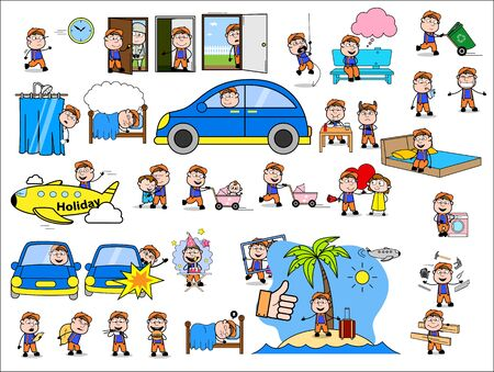 Various Cartoon Carpenter Character - Set of Concepts Vector illustrations Stock Illustratie