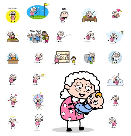 Various Comic Old Granny Character - Set of Concepts Vector illustrations