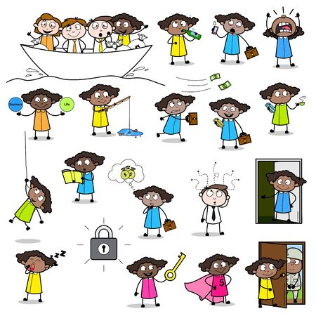 Office Lady Worker - Set of Concepts Vector illustrations Ilustração