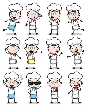 Different Cartoon Chef Poses - Set of Concepts Vector illustrations
